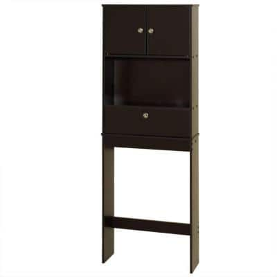 23 in. W x 65.1 in. H x 7.38 in. D Brown Over-the-Toilet Storage