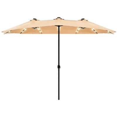 15 ft. Steel Double-Sided Solar LED Market Patio Umbrella in Beige with Crank