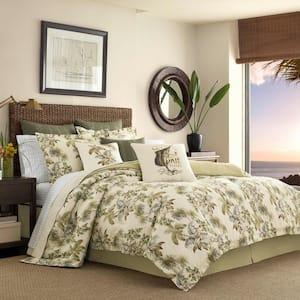 Nador 4-Piece Medium Beige Botanical Cotton Queen Comforter Set