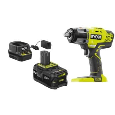ONE+ 18V Cordless 3-Speed 1/2 in. Impact Wrench Kit with (1) 4 Ah Battery, Charger and Bag