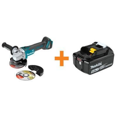 18-Volt LXT Brushless Cordless 4-1/2 in./5 in. Cut-Off/Angle Grinder with Bonus 18-Volt LXT Lithium-Ion 5.0 Ah Battery
