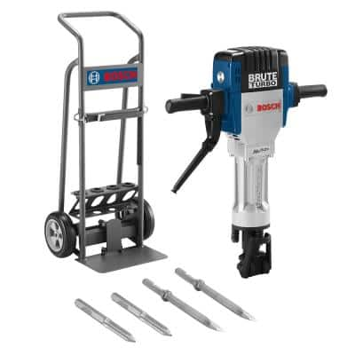 Brute Turbo 15 Amp 1-1/8 in. Corded Concrete/Masonry Variable Speed Electric Hex Breaker Hammer Kit w/ Cart & 4 Chisels