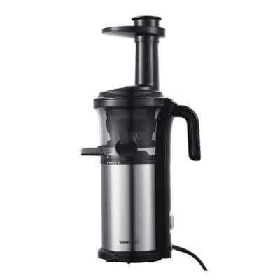 200 W Stainless Steel Slow Masticating Juicer with Quiet Motor and Reverse Function, Silver
