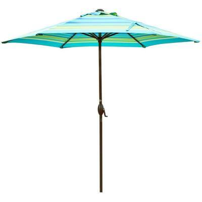 9 ft. Market Outdoor Patio Umbrella with Push Button Tilt and Crank, Turquoise Stripe