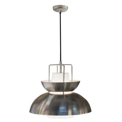 Century 1-Light Brushed Steel Vintage Pendant with Frosted Glass Shade