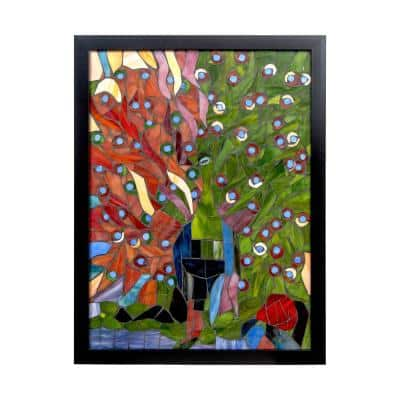Peacock 24 in. Wall Art Decor with Hand Rolled Art Glass Style