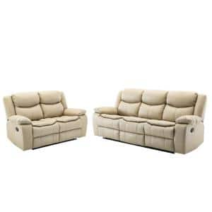 Classic Style Jade White Faux Leather Manual Reclining Upholstered 3 Seats Sofa and Loveseat (Set of 2)