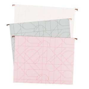 Modern Pretty Fashion Hanging File Folders, 2'' Expansion, Letter Size (12-Pack)
