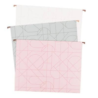 """Modern Pretty Fashion Hanging File Folders, 2"""" Expansion, Letter Size (12-Pack)"""