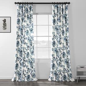 Indonesian Blue Floral Rod Pocket Room Darkening Curtain - 50 in. W x 108 in. L