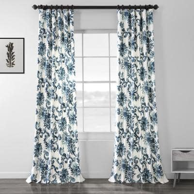 Indonesian Blue Floral Rod Pocket Room Darkening Curtain - 50 in. W x 84 in. L