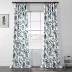 Indonesian Blue Floral Rod Pocket Room Darkening Curtain - 50 in. W x 96 in. L