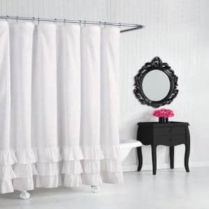 BJ Solid White Microfiber 72in. X 72in. Shower Curtain