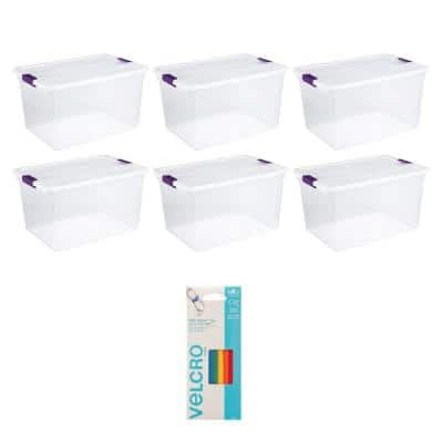 66-Qt. Storage (6 Pack) Bundled with Velcro Brand Wire and Cable Ties