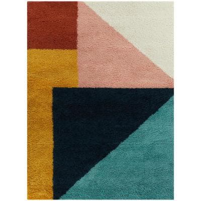 Jordan Multicolor 8 ft. x 10 ft. Color Block Shag Area Rug