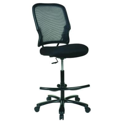 15 Series 21.5 in. Width Standard Black Fabric Drafting Chair with Lumbar Support