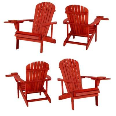 Classic Red Wood Adirondack Chair (4-Pack)