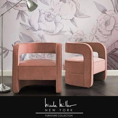 Otis Blush Velvet Accent Chair with Upholstered