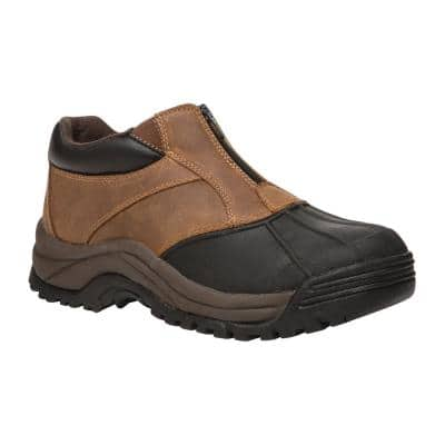 Blizzard Ankle Zip Men's Size 8.5 Medium (D) Brown/Black Leather Waterproof Winter Boot