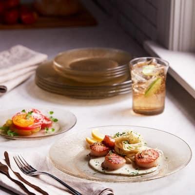 Yute Dinnerware 12-Piece Contemporary Gold Glass Dinnerware Set (Service for 6)