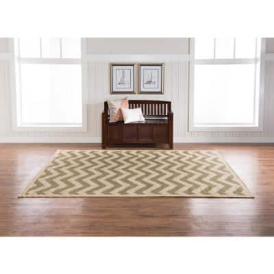 Innovations Reversible Green and Tan Chevron 6 ft. 6 in. x 9 ft. 6 in. Indoor/Outdoor Area Rug