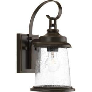 Conover Collection 1-Light Antique Bronze Clear Seeded Glass Farmhouse Outdoor Small Wall Lantern Light
