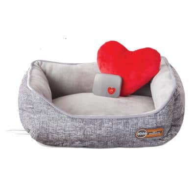 11 in. x 13 in. 4-Watt 1-Size Fits All ( Small ) Gray Mother's Heartbeat Heated Kitty Pet Bed with Heart Pillow