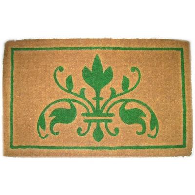 Traditional Coir Green Insignia 30 in. x 18 in. Coir Door Mat
