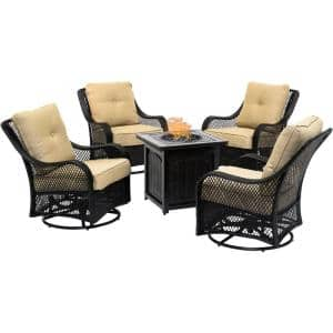 Orleans 5-Piece Steel Patio Fire Pit Conversation Set with Sahara Sand Cushions, Woven Swivel Gliders and Fire Pit Table