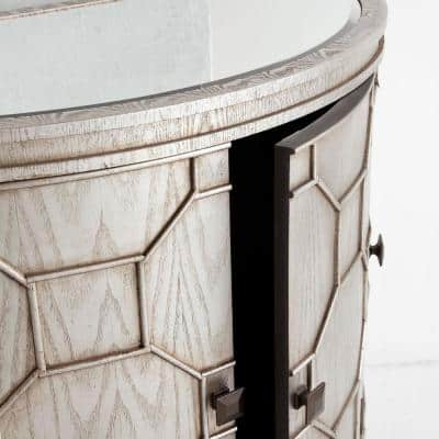 Oppsola 39.6L x 18.1W x32.3H Silver Wooden Mirror Top Four Door Accent Cabinet