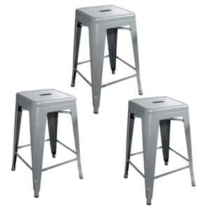 Loft Style 24 in. Silver Stackable Metal Bar Stool (Set of 3)