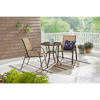 Mix and Match Brown Steel Sling Outdoor Patio Dining Chair in Cafe Tan (2-Pack)