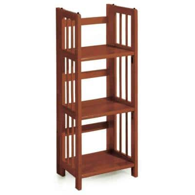 38 in. H Walnut New Finish Solid Wood 3-Shelf Etagere Folding/Stacking Open Bookcase