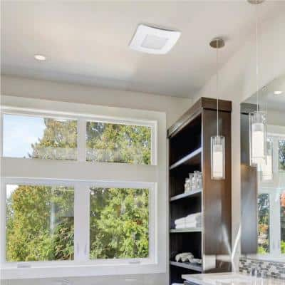 50 CFM Easy Installation Bathroom Exhaust Fan with LED Lighting and Humidity Sensing