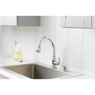 Pavilion Single-Handle Pull-Down Kitchen Faucet with TurboSpray and FastMount and Soap Dispenser in Chrome