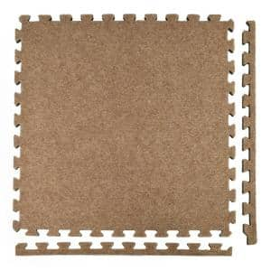 Royal Carpet Tan Velour Plush 2 ft. x 2 ft. x 5/8 in. Interlocking Carpet Tile 96.875 sq. ft. (25 Tiles/Case)