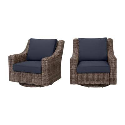 Rock Cliff Brown Wicker Outdoor Patio Swivel Rocking Chair with CushionGuard Midnight Navy Blue Cushions (2-Pack)