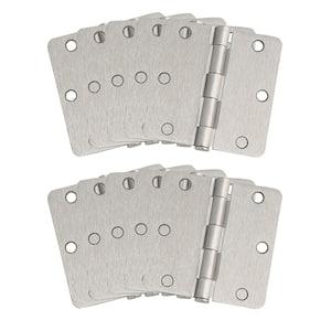 3-1/2 in. x 1/4 in. Radius Satin Nickel Door Hinge Value Pack (10 per Pack)
