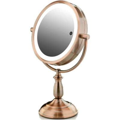 15.79 in. H X 5.51 in. W, Small Copper Lighted Tilting Makeup Mirror, 1x 5x Magnification