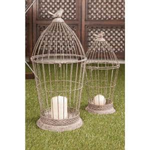 Gray Bird Cage Candle Lanterns (Set of 2)
