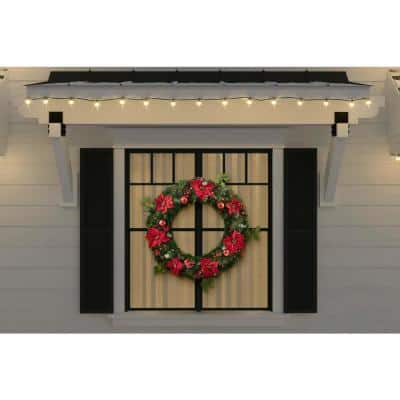 36 in Berry Bliss Battery Operated Mixed Pine LED Pre-Lit Artificial Christmas Wreath with Timer