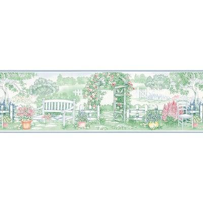 Garden Gate Blue, Green, Pink Wallpaper Border