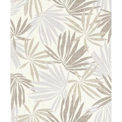 Khmunu Neutral Palm Leaf Wallpaper
