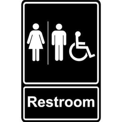 5.5 in. x 8 in. Unisex Men and Women Restroom Bathroom With ADA Compliant Handicap Symbol Black Plastic Sign