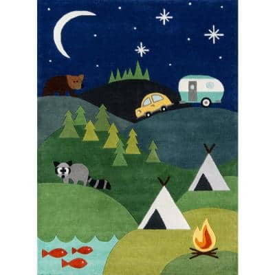 Lil Mo Whimsy Camping Fun Blue 4 ft. x 6 ft. Indoor Kids Area Rug