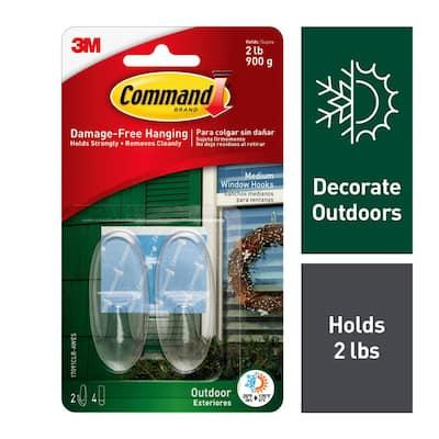 2 lb. Medium Clear Outdoor Window Hooks (2 Hooks, 4 Water Resistant Strips)