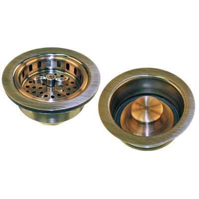 4-1/2 in. x 1-5/8 in. Brass Kitchen Basket Strainer with Disposal Flange in Antique Copper