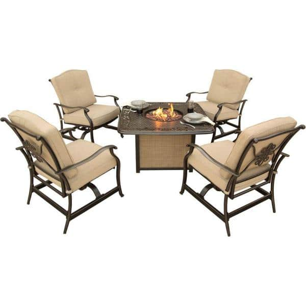 Hanover Traditions 5 Piece Patio Fire Pit Seating Set With Cast Top And Natural Oat Cushions Traditions5pcfp The Home Depot