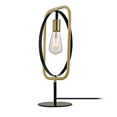 Anjo 1-Light Table Lamp with Pivoting Frame and Exposed Socket, Black and Satin Brass
