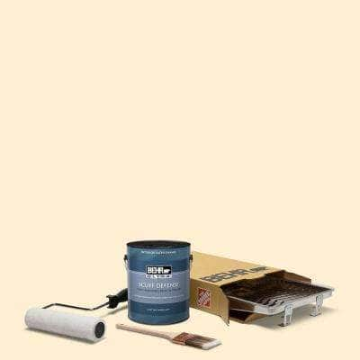1 gal. #YL-W03 Honied White Extra Durable Satin Enamel Interior Paint and 5-Piece Wooster Set All-in-One Project Kit